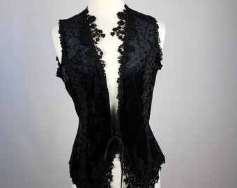 Womens Black Velvet Lace Vest By Jonquil Diane Samandi Neiman Marcus Vintage 4dab8102c