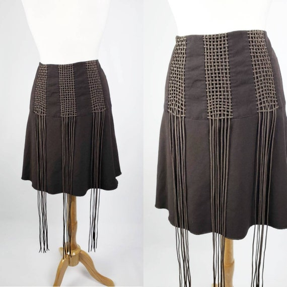 60s 70s Vintage Brown Suede Fringe Mini Boho Skirt