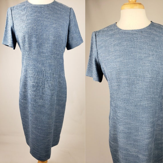 90s Vintage Blue Tweed Sheath Day Dress | Size Lar