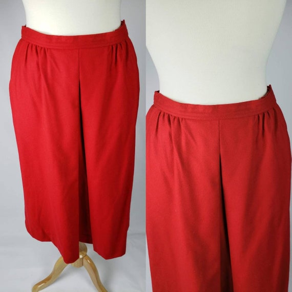 50s Vintage Riding Skirt Red Virgin Wool with Pock