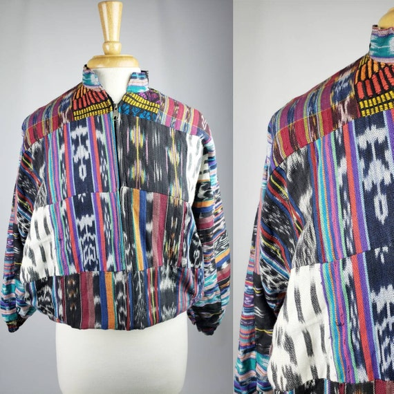 80s 90s Vintage Colorful Woven Bomber Jacket | Siz