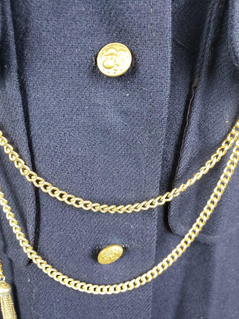 60s Vintage Mod Navy Blue Button Up Sailor Gold Chain Wool Vest Dress Size Medium
