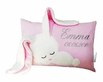 Namenskissen für Mädchen rosa mit Hase/ besticktes Kissen als Geschenk zur Geburt/Taufgeschenk/Taufkissen Geburtskissen mit Datum