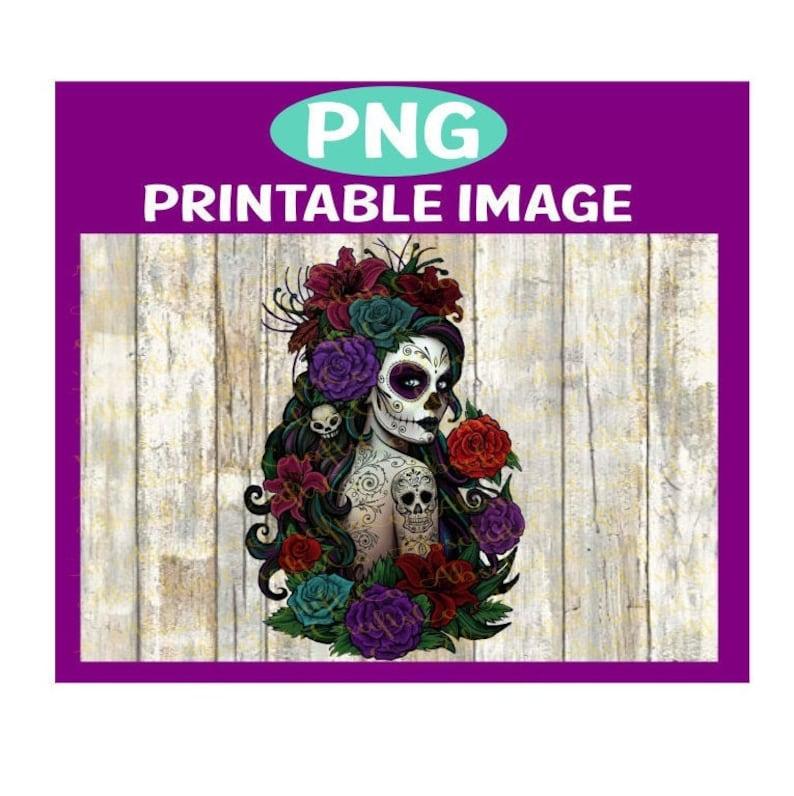 Sugar Skull Day of the Dead PRINTABLE IMAGE  Waterslide  PNG image 0