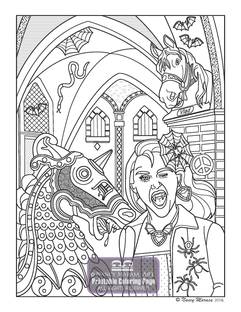 Vampires After Dark Vampire War Horse Coloring Page Coloring Pages For Adults And Teens Coloring Sheets Romantic Gothic Fantasy