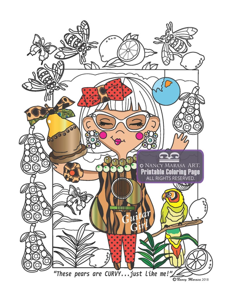 Guitar Girls Coloring Book Page - Pear Shape (Coloring pages for adults and teens, Coloring sheets, Musical, Whimsical, Fantasy)