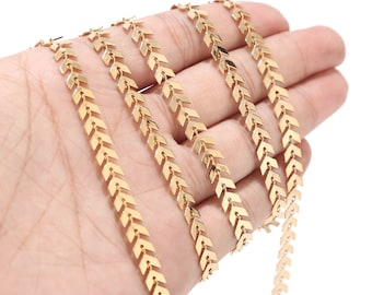 1 Meter 6mm Width Stainless Steel Chevron Link Chain Gold Herringbone Chains for Necklace Bracelet Anklet DIY Jewelry Making Supplies