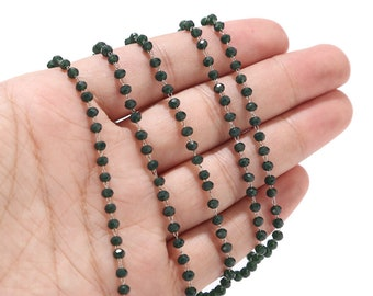 Stainless Steel Beaded Chains, Dark Green/Black/Red/Blue Crystal Glass Rondelle Bead Chain 3mm for Jewelry Making