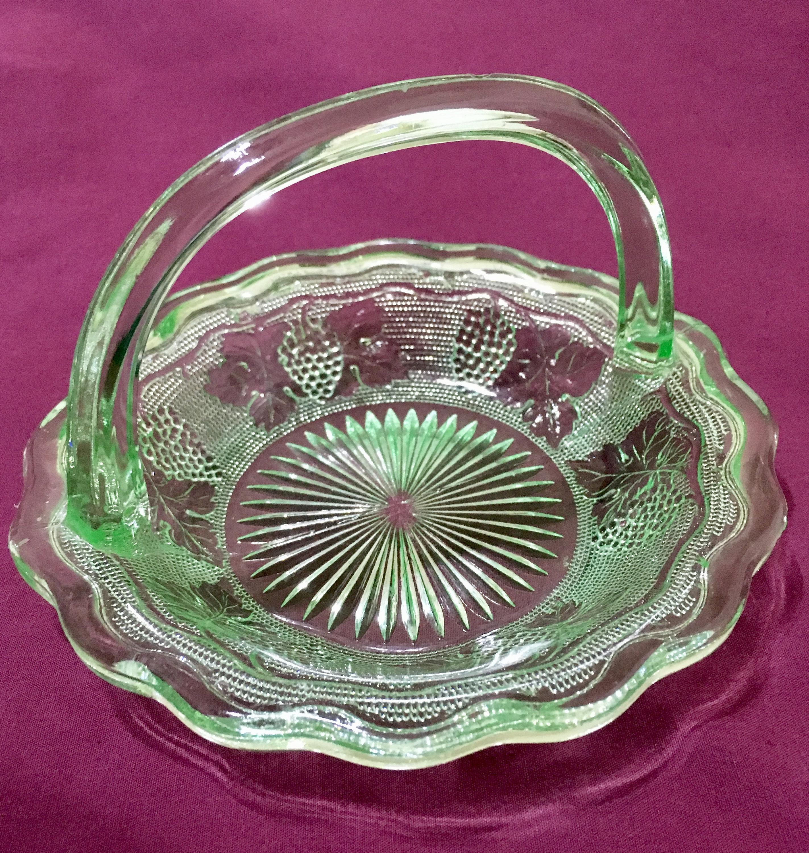 Westmoreland Woolworth Vintage Green Uranium Glass Basket ...