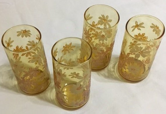 28d78936c595 ... Amber Drinking Glasses with Raised Daisy Pattern, Set of Six, Vintage  Libbey Style,