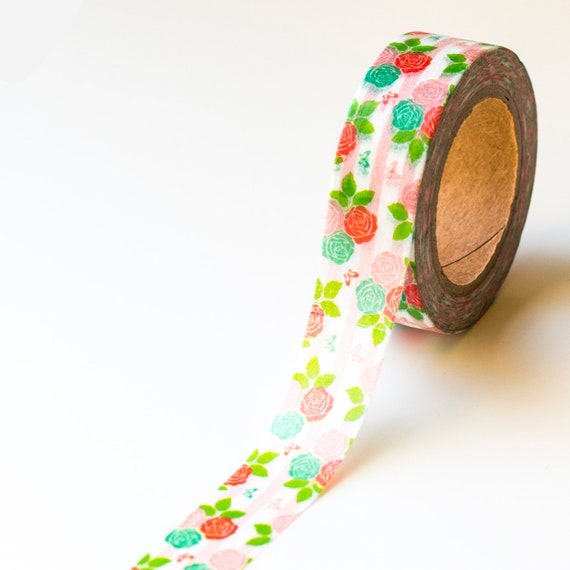Floral Crafting Tape Roses Floral Washi Tape Decorative Tape kawaii Floral Planner