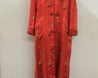 Rich Red Fully Lined Satin Jacquard Asian Long Coat Bust 46 Peony Brand Size 42 China
