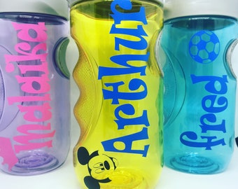 PERSONALISED WATER BOTTLE NAME VINYL BACK TO SCHOOL MINNIE MOUSE STICKER ONLY