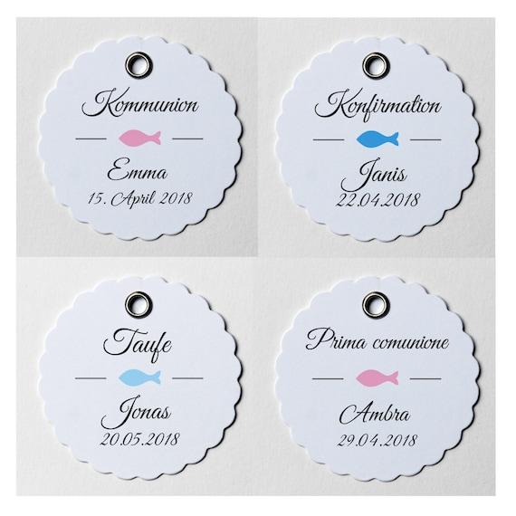 10 runde Anhänger//Etiketten VIELE MUSTER für Hochzeit Kommunion 5,0 cm Taufe