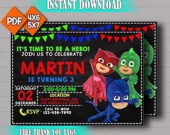 Pj Masks Invitation,Pj Masks Birthday Party Invitation,Editable Invitation,Pj  Masks Instant Download,Digital Invitation,Free Thank You Card