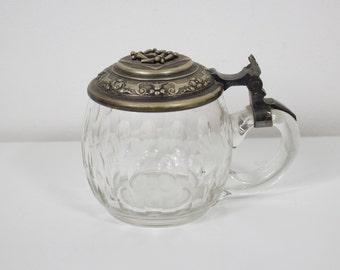 Antiquitäten & Kunst 3 Gläserne Bierkrüge Mit Aufklappbarem Zinndeckel
