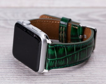 17682c885de02 Croco Pattern Green Leather Apple Watch band, 42mm, 38mm, 40mm, 44mm for  series 1-2-3-4
