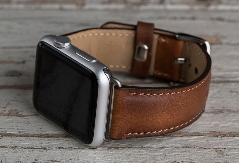 e9b5c7831 Genuine Brown Leather Apple Watch band 42mm 38mm 40mm 44mm | Etsy