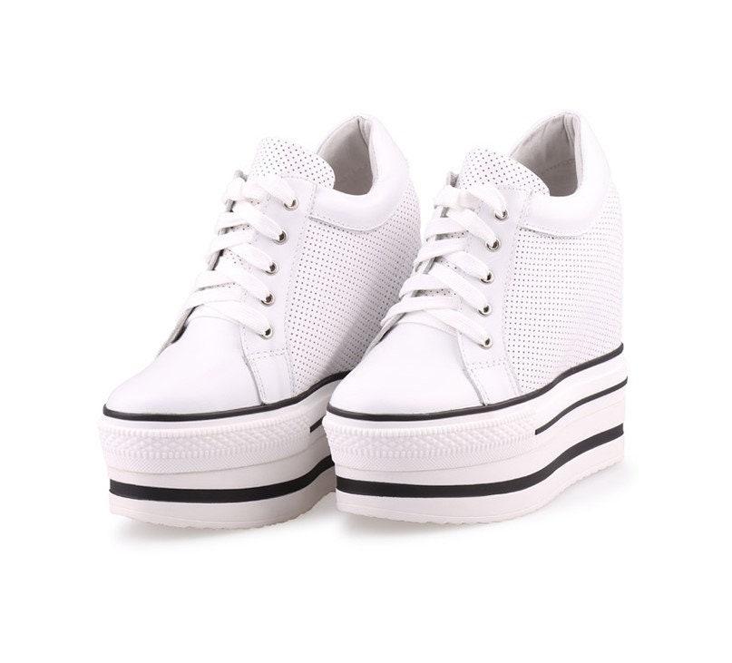 f54be306f356 High Platform Shoes Custom 13 cm Wedge Hidden Heel Hide Heeled