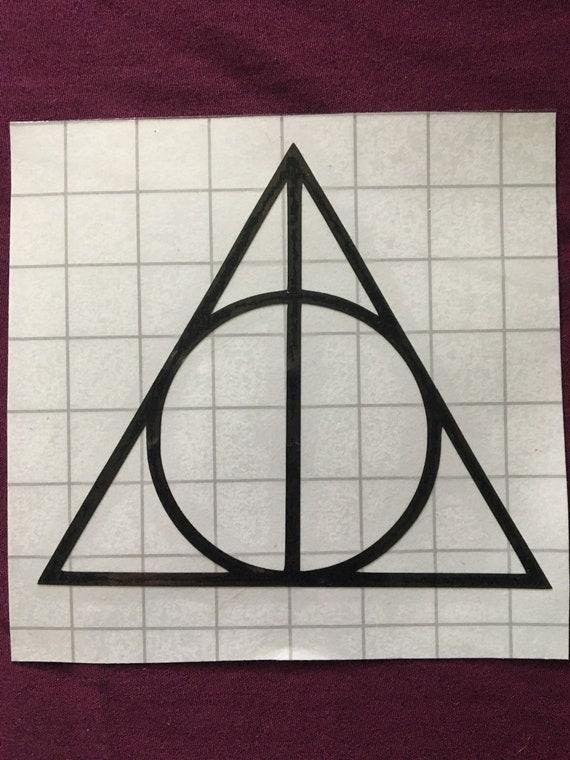 Harry Potter Deathly Hallows Symbol Black Vinyl Decal Etsy