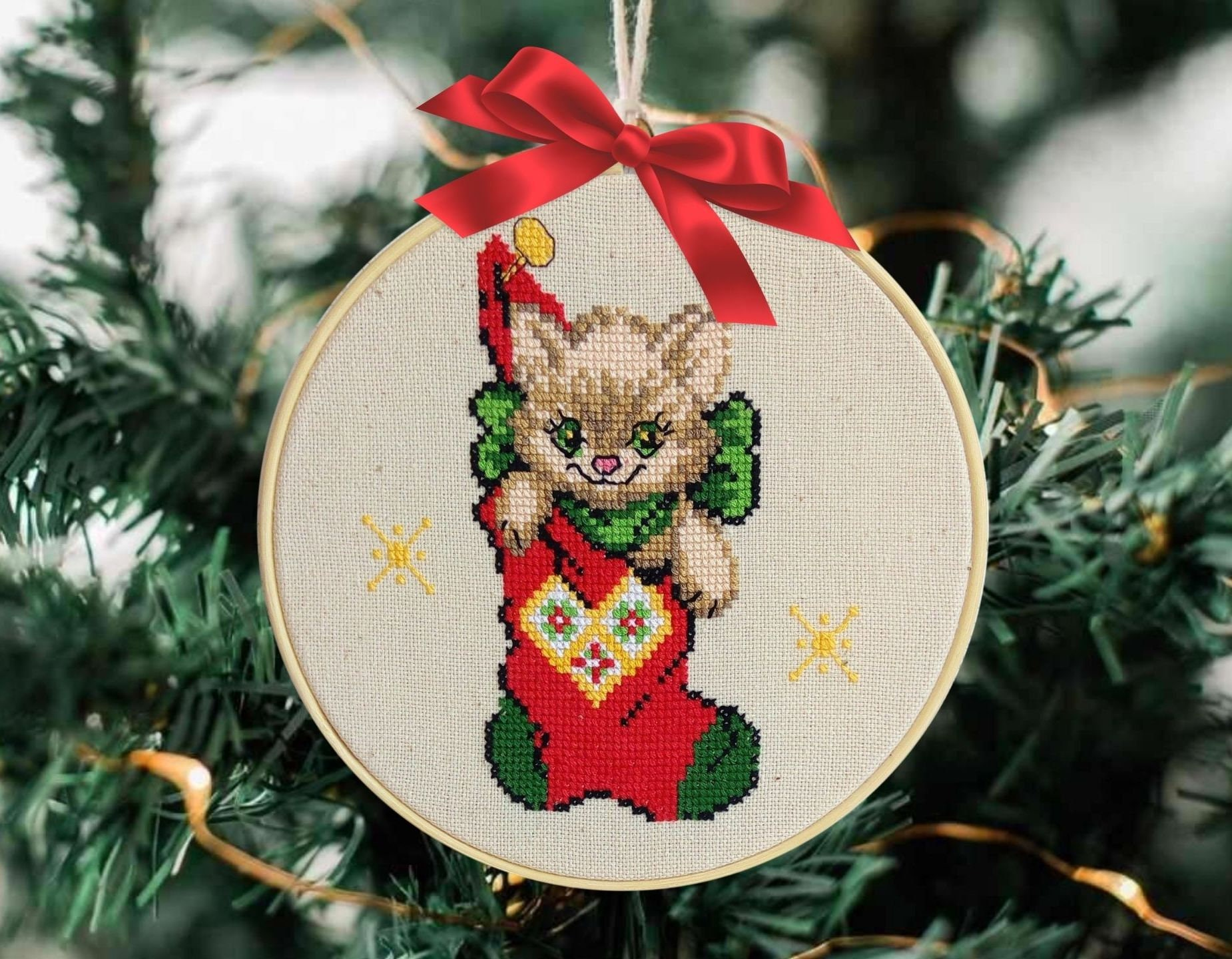 Snarky Christmas Cross Stitch Completed in Hoop Ornament