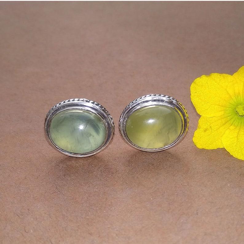 Prehnite Earring Solid Silver Stud Wedding Gift Idea Stud Mother Gift Idea Gemstone Jewelry Women Gemstone Stud Unique Gemstone Stud