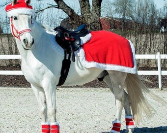 Popular Christmas Holiday collection for your Horse! Dress up for Parades in Red White accessories-Halter Wraps Cap