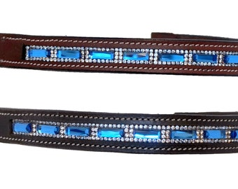 Padded Black Leather 12 For English PONY Bridle:New rectangular Black Color crystals Super Shinny Bedazzled Brow Band
