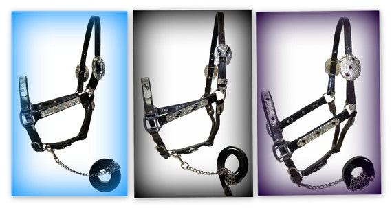 Leather Show Halter with Silver Engraved Trim Accented with Blue Crystals with Lead Chain