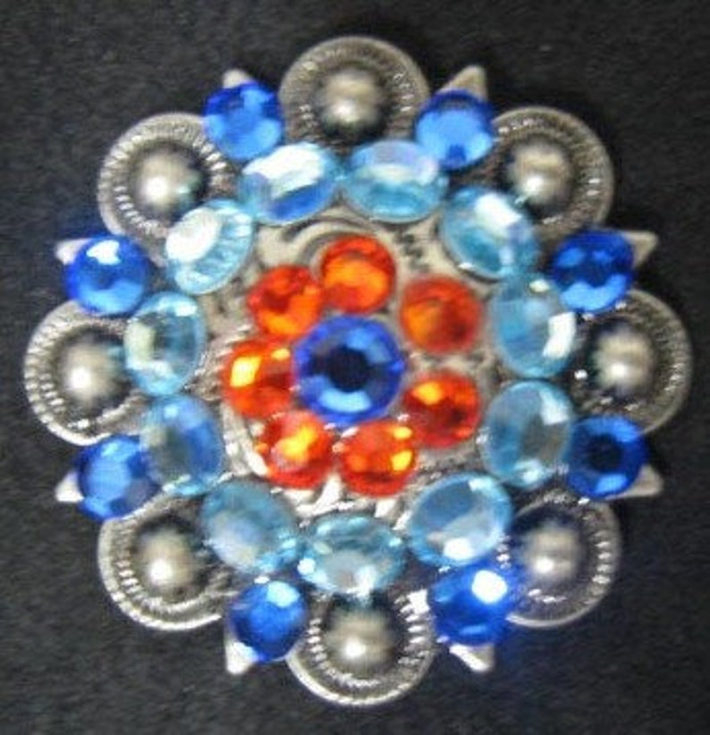 1 screw back!!- 1 pc Leather Bridles Western Conchos for Saddles Spur straps /& Other Projects- Berry Blue Orange 1.25