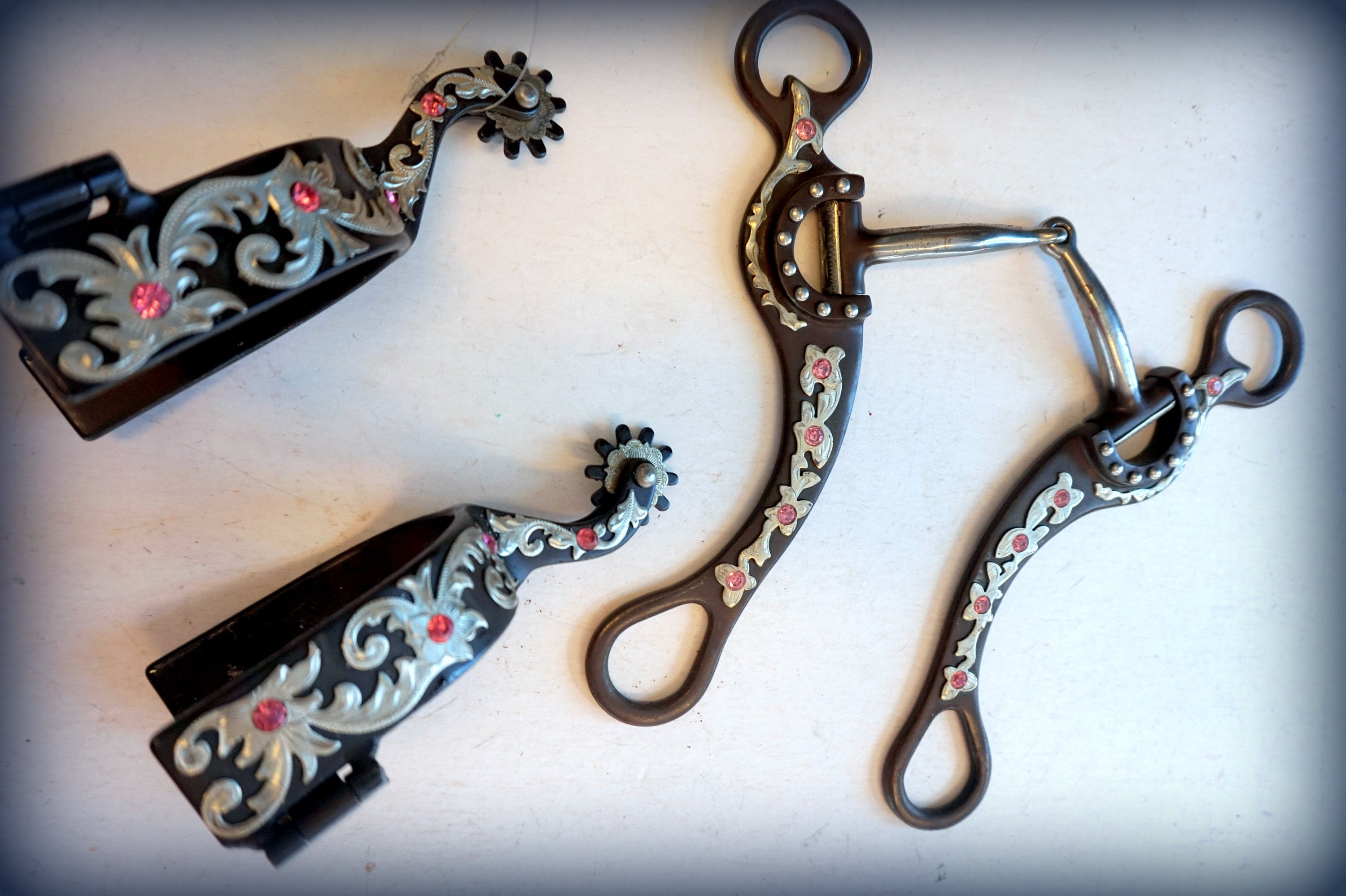 """Assorted Bits in 5"""", 5.5"""" Crystal accents Engraved Brown metal Fancy show Western - also some combo spurs to match the bits!"""