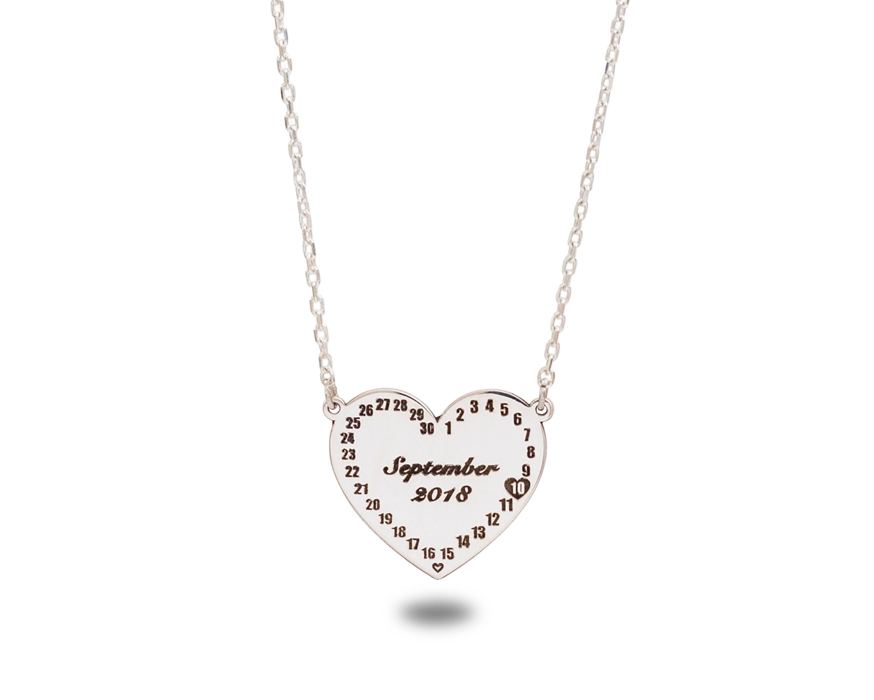 925 STERLING SILVER PHOTO TEXT CUSTOM ENGRAVED HEART PENDANT WITH CHAIN OPTIONS