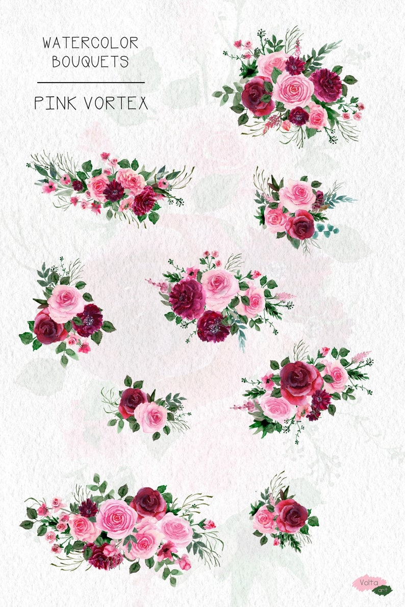Leaves Hand drawn PNG flowers,Marsala clip art Commercial use Peony floral bouquets Cute Pink Bordo watercolor roses Bridal design