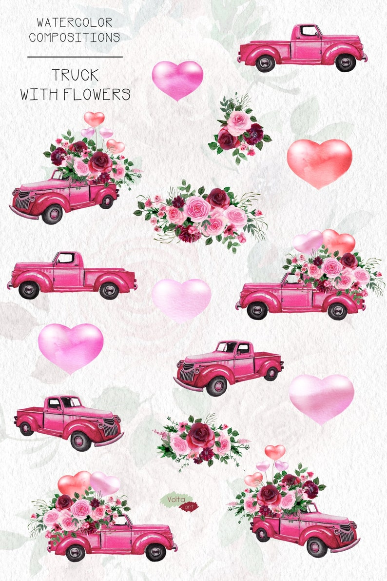 Watercolor Pink Bordeaux flowers Vintage Hand drawn pastel peonies Spring elements compositions Commercial use Pink truck PNG ClipArt
