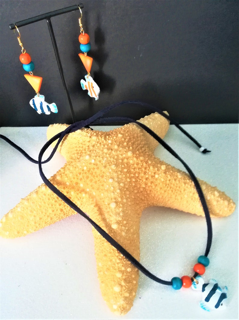 handmade women/'s jewelry July challenges the sea and its universe Jewelry adornment necklacebracelet and matching earrings gift idea