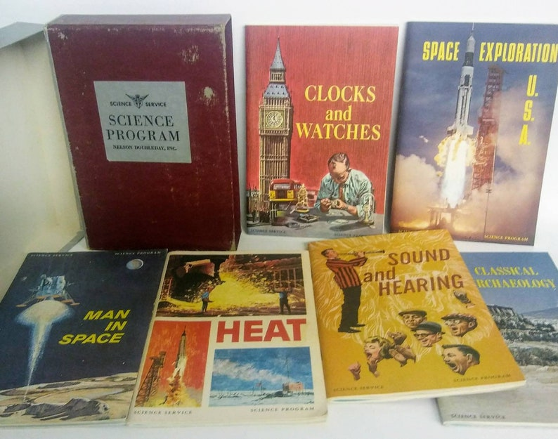 Midcentury Science & Tech Box Set, Science Service Program, 6 Bulletin  Booklet Books: Heat, Sound, Archaeology, Clocks Watches, Space Race