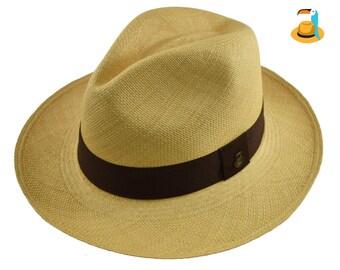 2068cc6b Beige Classic Fedora Black Band | Genuine Panama Hat | Toquilla Straw |  Handwoven in Ecuador