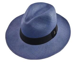 133feb5a Jean Blue Classic Fedora   Genuine Panama Hat   Toquilla Straw   Handwoven  in Ecuador