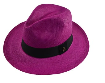 7b39ff36 Fuchsia Classic Fedora   Genuine Panama Hat   Toquilla Straw   Handwoven in  Ecuador