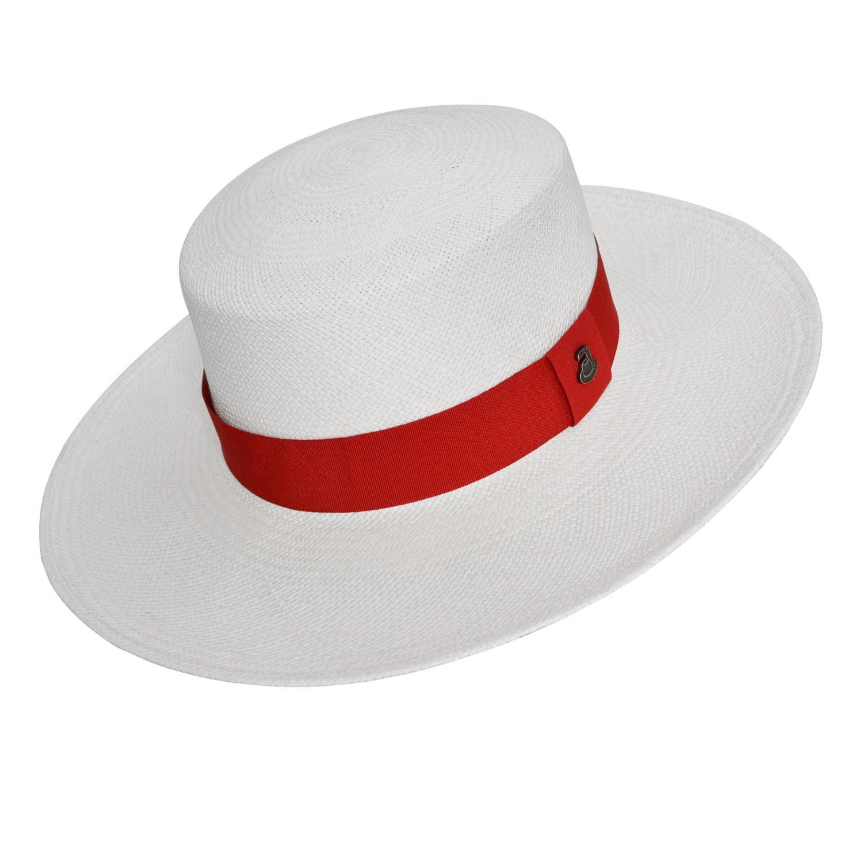 ecc1b77d3 Original Panama Hat - Flat Crown Wide Brim Classic Fedora - Toquilla Straw  - Red Band - Handmade in Ecuador by Ecua-Andino