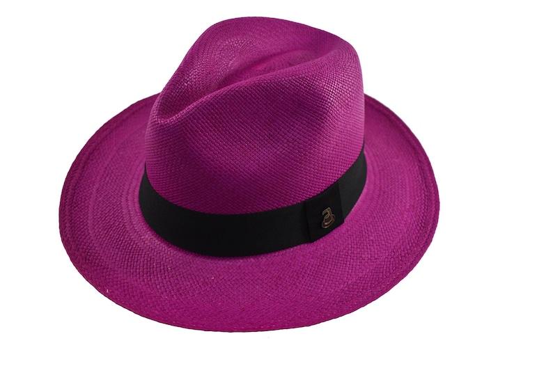fa1133141b6c6b Fuchsia Classic Fedora Genuine Panama Hat Toquilla Straw | Etsy
