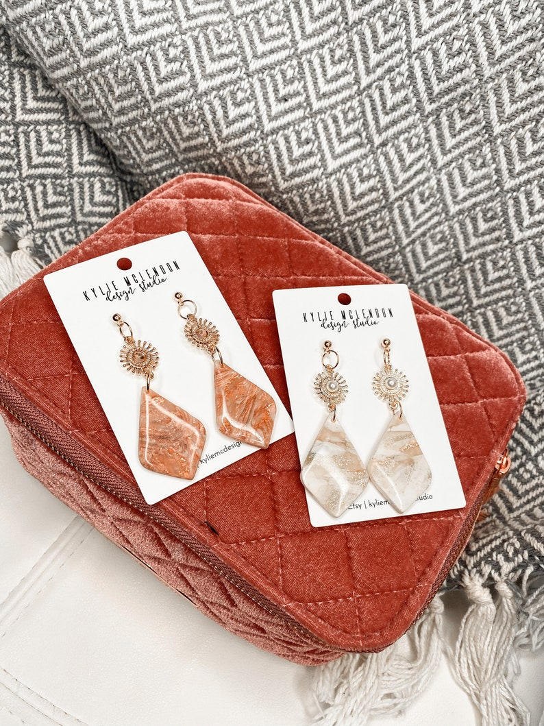 Sparkling Pearl /& Rose Gold The Railey Boho Glam Polymer Clay Earrings Resin Earrings
