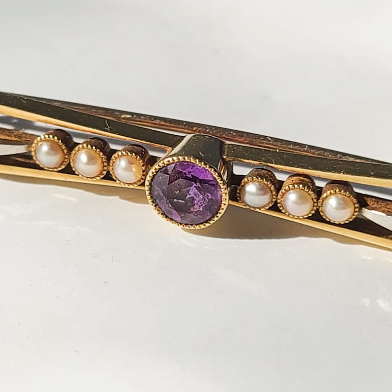 collectible Antique English  British 15k  15ct real solid yellow /& white gold art deco pin  brooch with faceted amethyst and seed pearls
