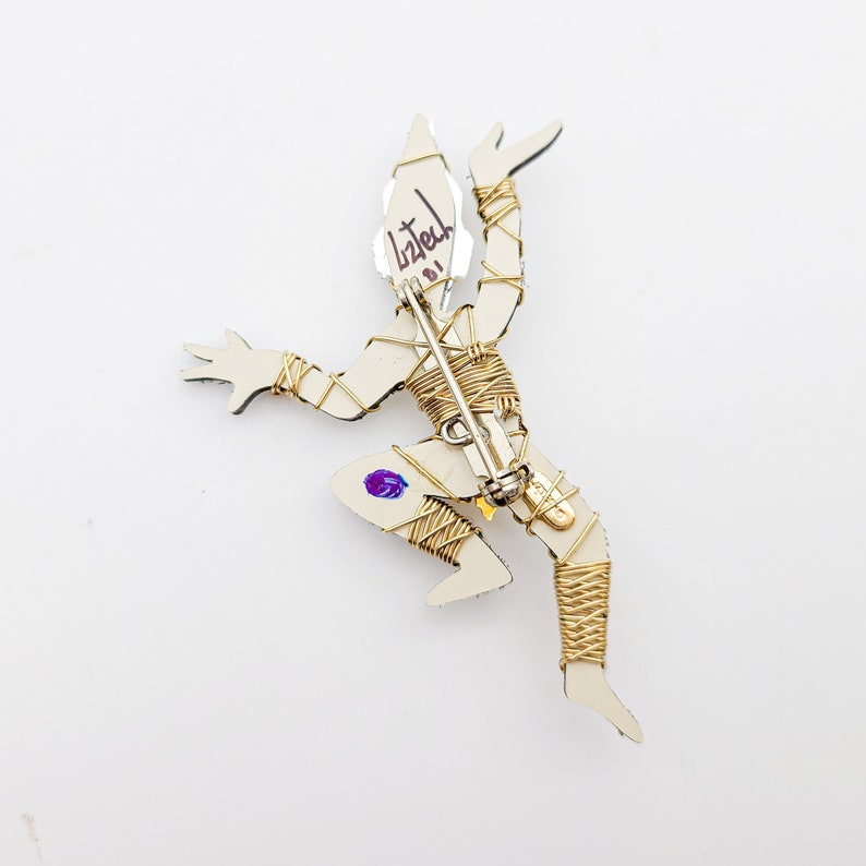 dancing figure silver 2001 wire artisan signed handmade plastic Large Liz Tech Artisan Handmade Thai Dancer Pin  Brooch beads