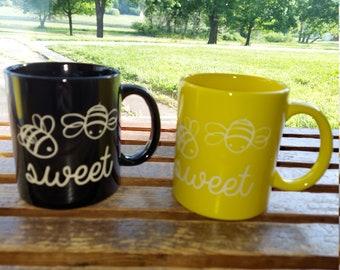 bee sweet etched coffee mug