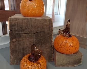 Glassblown Pumpkin- Orange with brown stem