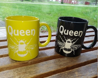 Queen Bee Etched coffee mug