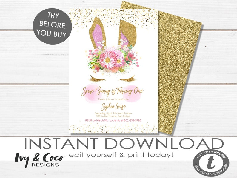 Gold Bunny Birthday Invite Template Girls 1st Floral Invitation Instant Download C071