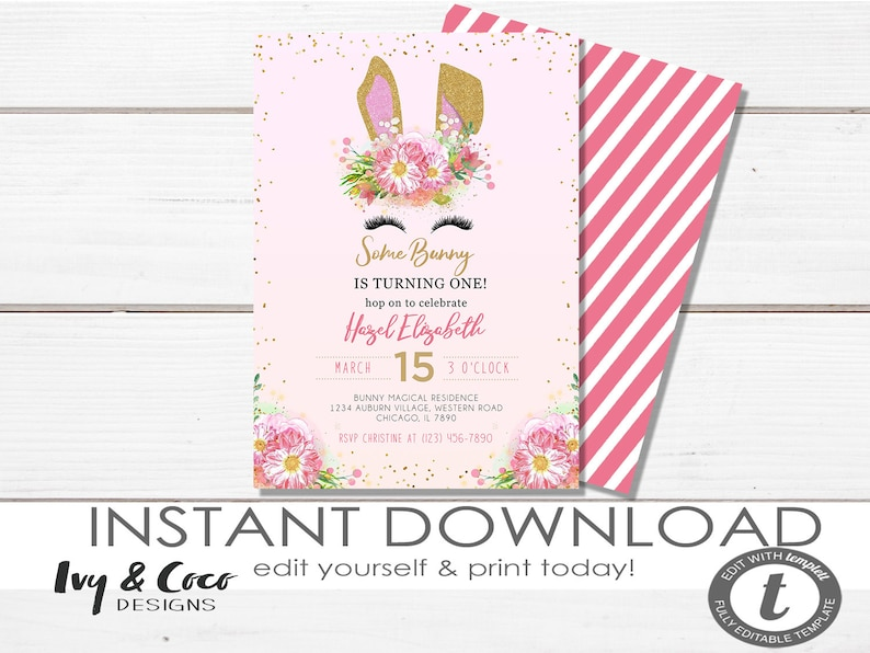 Some Bunny Birthday Invite Template Girls 1st Floral Invitation Instant Download C072