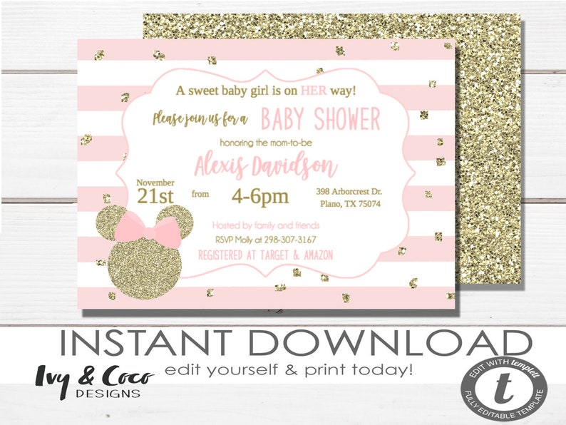 Minnie Mouse Baby Shower Invitation Girl Instant Download Editable Digital 1214